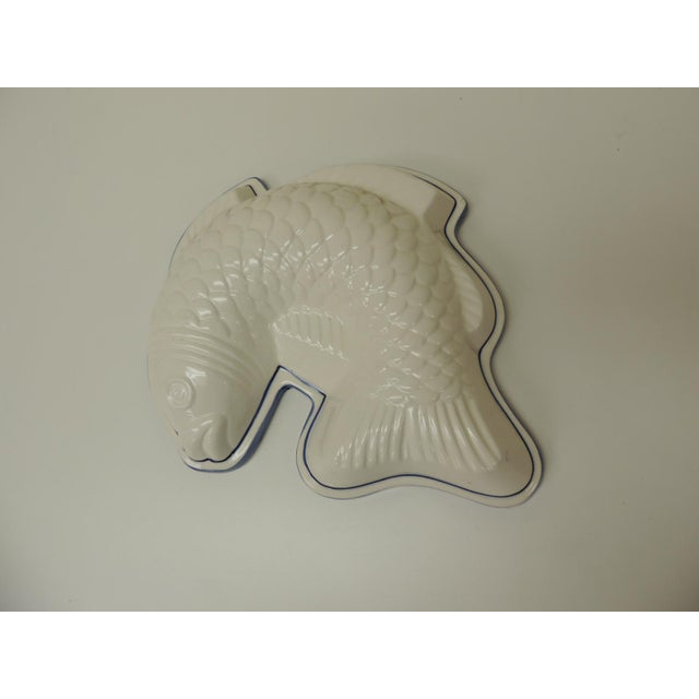 Vintage Blue and White Ceramic Wall Decorative Fish Mold For Sale - Image 4 of 6