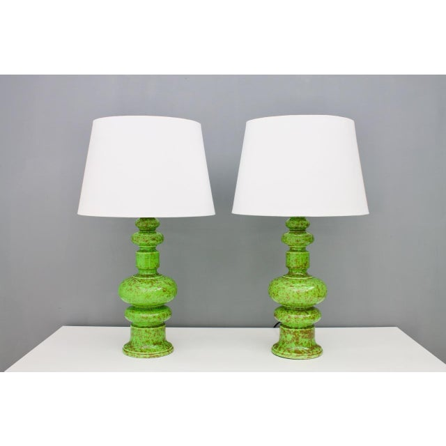 Pair of Green Ceramic Table Lamps, 1970s For Sale - Image 6 of 6