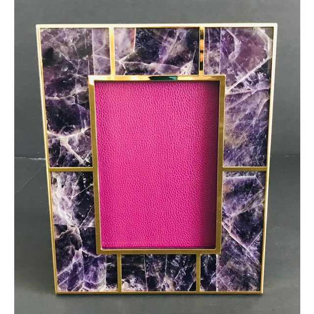 Amethyst gemstone and gold-plated picture frame by Fabio Ltd Height: 10.5 inches / Width: 8.5 inches / Depth: 1 inch Photo...