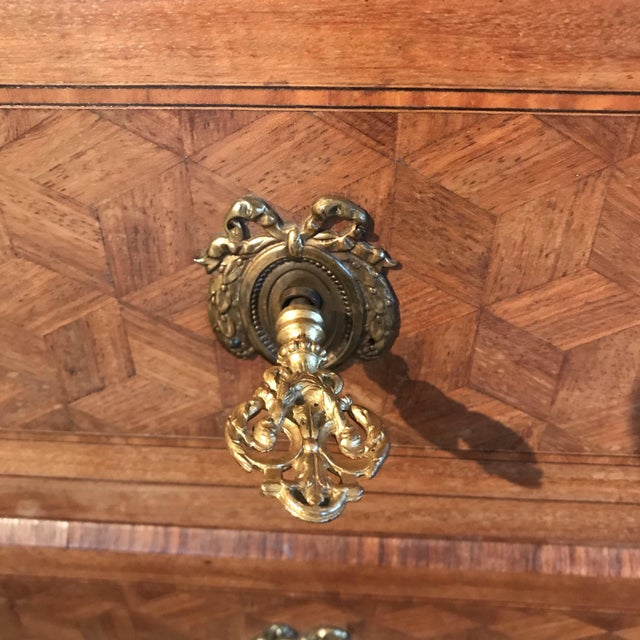 Brown French Antique Marquetry Commode or Chest of Drawers With Marble Top For Sale - Image 8 of 13