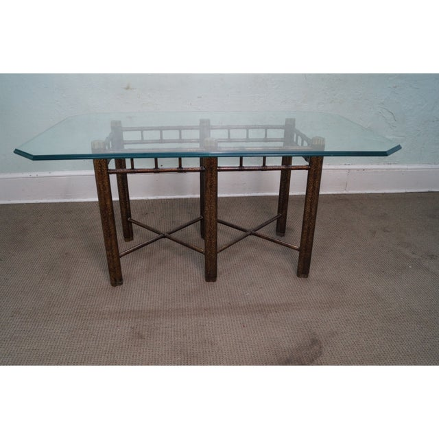 Black Faux Bamboo Tortoise Shell Painted Dining Table For Sale - Image 8 of 10