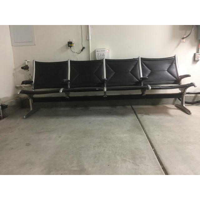 Herman Miller Black Slingback Airport 4-Seat Bench - Image 3 of 8