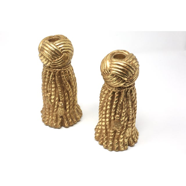 Hollywood Regency Vintage Gold Rope and Tassel Candlesticks For Sale - Image 3 of 10