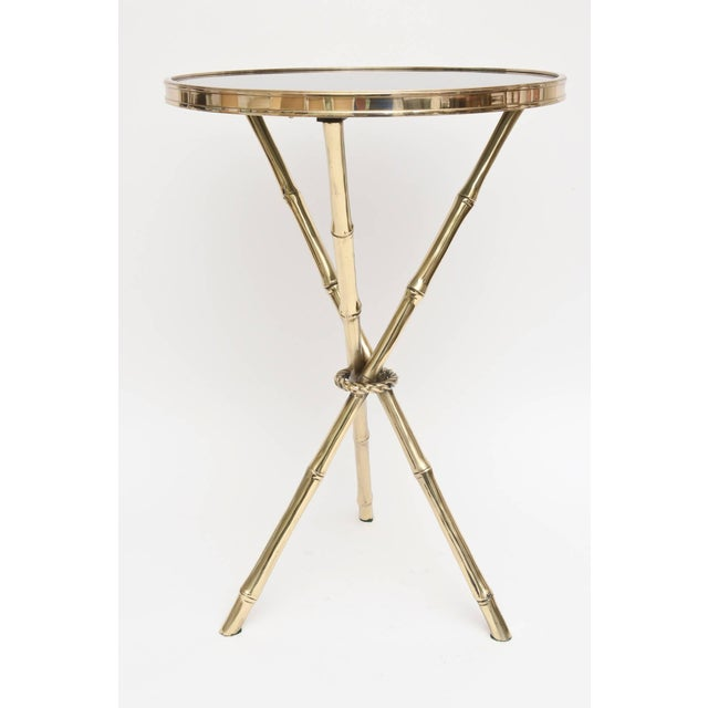 Chic Italian Polished Brass and Granite Faux Bamboo Tripod Side Table - Image 2 of 10