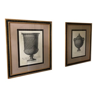Roman Urn Prints in Black and Gold Wooden Frame - a Pair