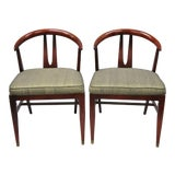 Image of Vintage Mid Century Modern Horseshoe Curved Back Mahogany Dining Chairs - a Pair For Sale