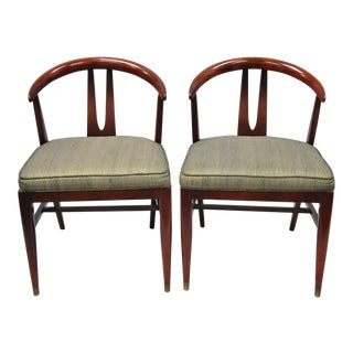 Vintage Mid Century Modern Horseshoe Curved Back Mahogany Dining Chairs - a Pair For Sale