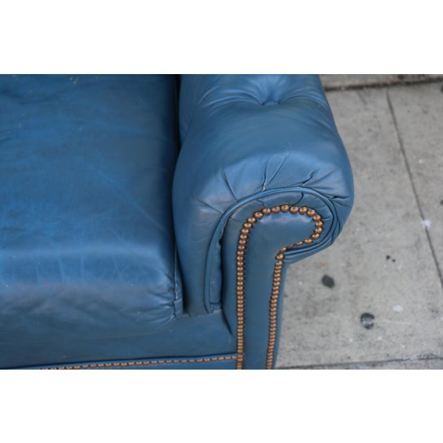 Teal Leather Sofa - Image 4 of 11