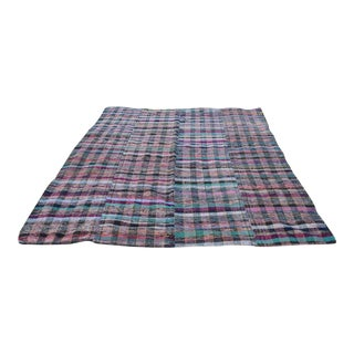 Vintage Handmade Turkish Striped Large Kilim Rug Rag With Muted Colours, Cotton and Goat Hair Material Kelim , 7'8'' X 9' / 235 X 275cm For Sale