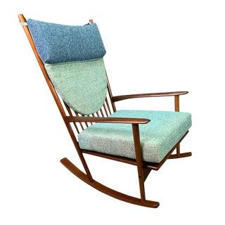 Vintage Hans Olsen Danish Mid Century Modern Walnut Rocking Chair For Sale