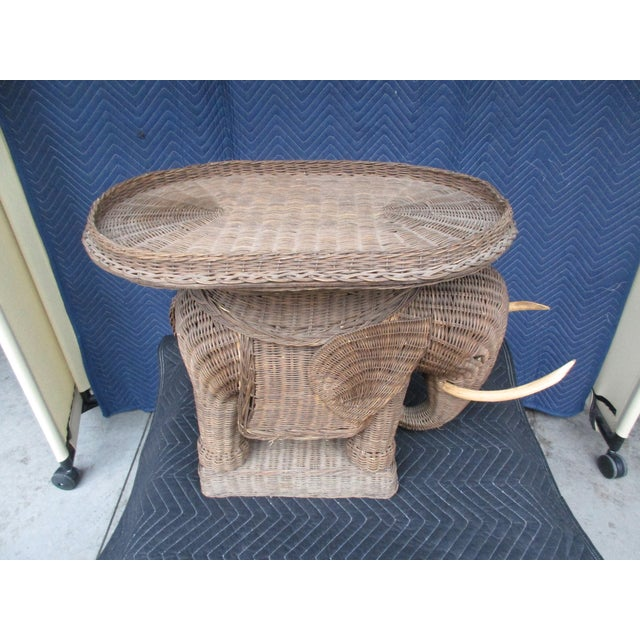 Mid 20th Century 20th Century Boho Chic Wicker Elephant Side Table For Sale - Image 5 of 8