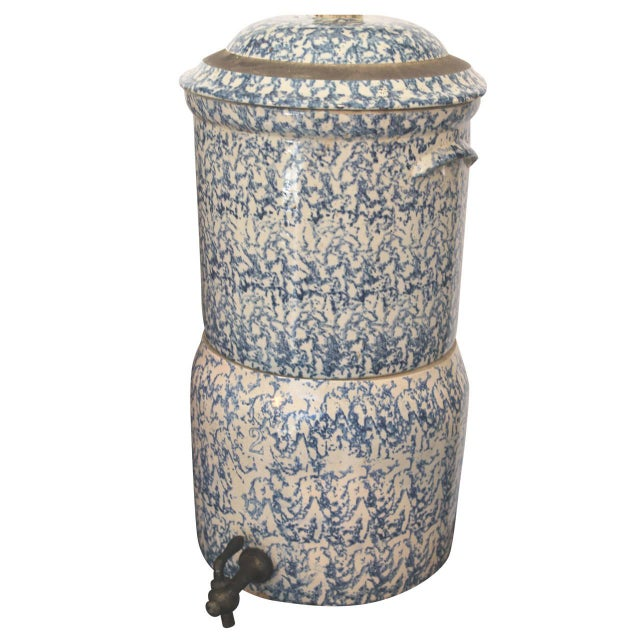 19th Century Two-Piece Sponge Ware Water Cooler For Sale - Image 9 of 9