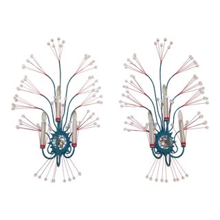 Modern Tony Duquette Turquoise Splashing Water Wall Sconces - A Pair For Sale