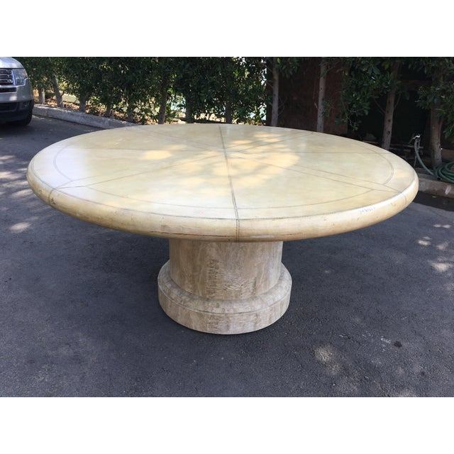 Amazing vintage Maitland-Smith Round Dining Table. The top is wonderful hand tooled leather in a cream - parchment color,...