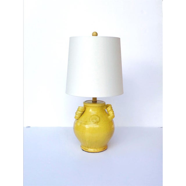 Asian Pair of Elegant Chinese Pottery Lamps in Antique Yellow Glaze For Sale - Image 3 of 12