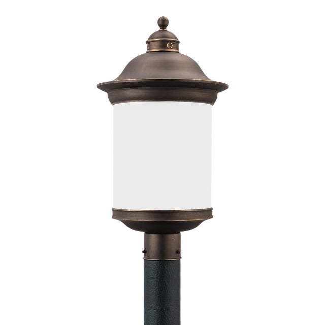 Marguerite One Light Outdoor Post Lantern, Bronze For Sale