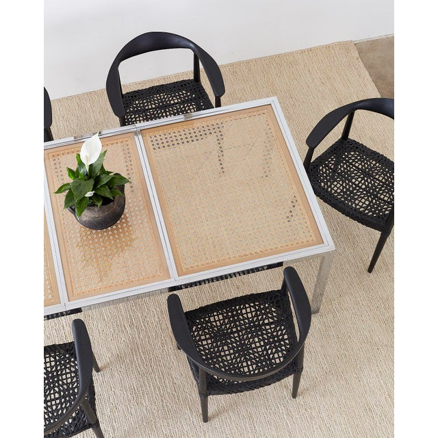 Mid 20th Century Milo Baughman Chrome Cane Wicker Dining Table For Sale - Image 5 of 13