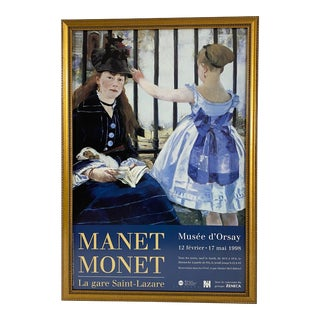 Vintage 1990's Manet Monet French Museum Exhibit Poster For Sale