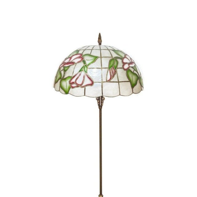 """Boho Chic Large 20"""" Vintage Capiz Shell & Brass Lamp Shade For Sale - Image 3 of 12"""