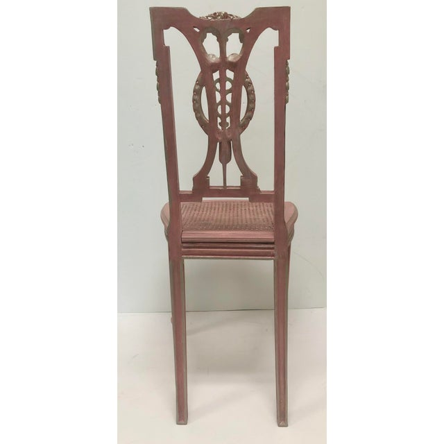 F. Louis XVI Style Chair in Pink For Sale - Image 4 of 8