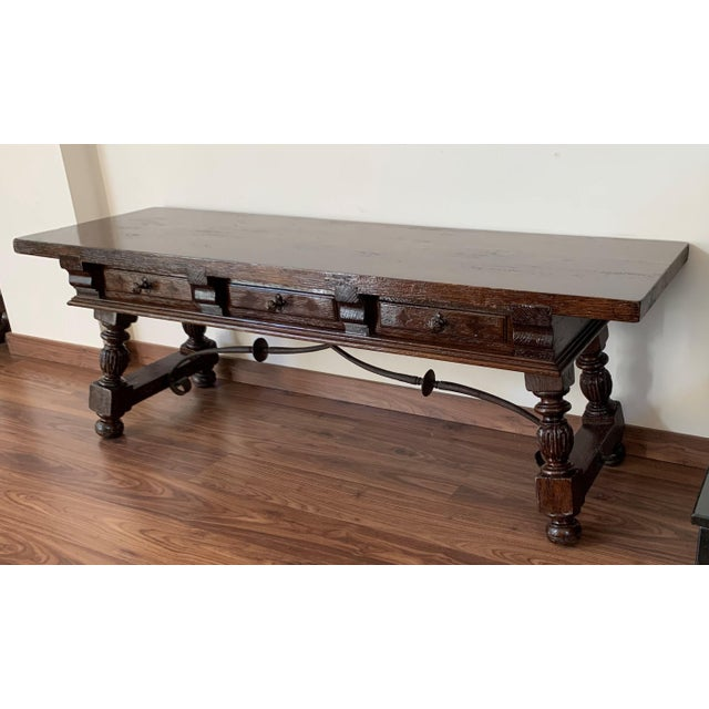 Spanish 19h Spanish Bench or Low Console Table With Marquetry Drawers and Iron Stretcher For Sale - Image 3 of 11