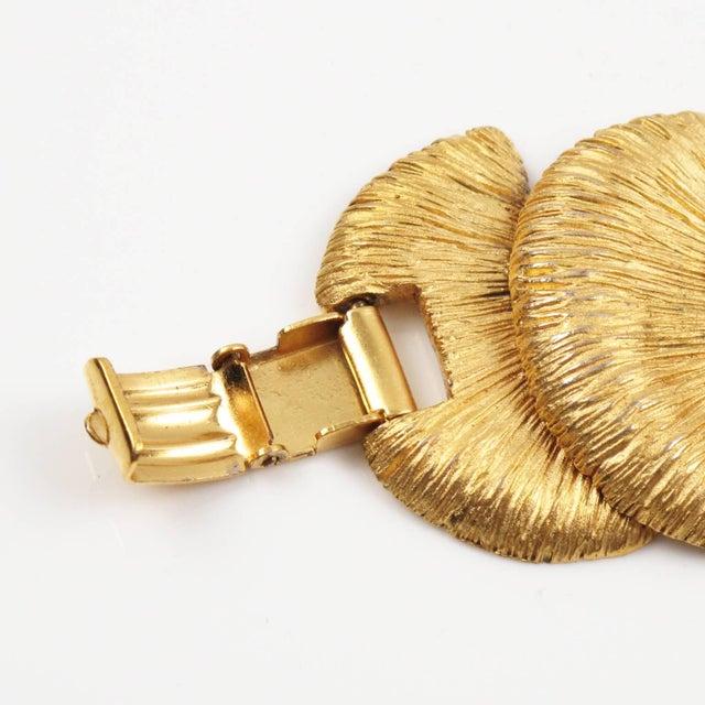 Etching Balenciaga Paris Signed Link Bracelet Gilt Metal Carved and Textured For Sale - Image 7 of 10