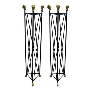 Pair of Neoclassical Style Pedestals Iron Stand with Lion Brass Heads & Paw Feet For Sale