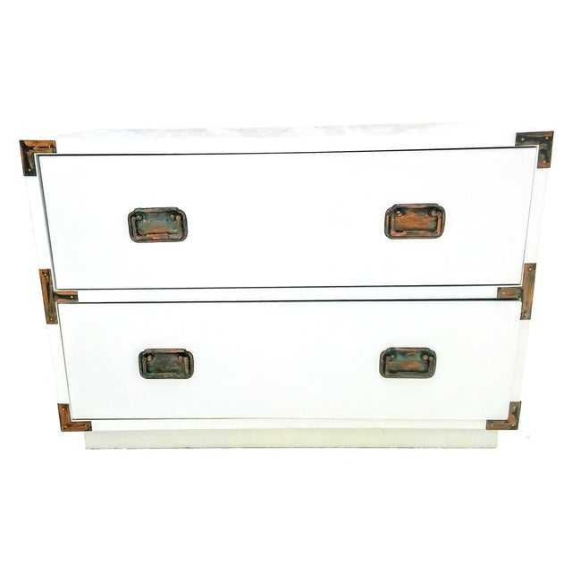 Small Campaign Dresser Side Table For Sale
