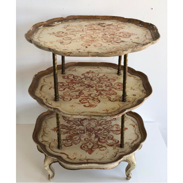 Traditional Vintage Italian Florentine Style 3 Tier Side Scalloped Table For Sale - Image 3 of 6