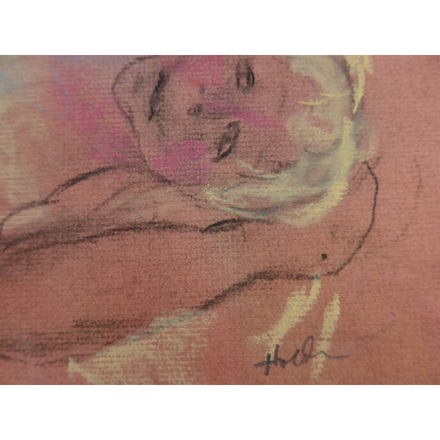 Pastel & Charcoal Drawing of a Woman For Sale - Image 4 of 7