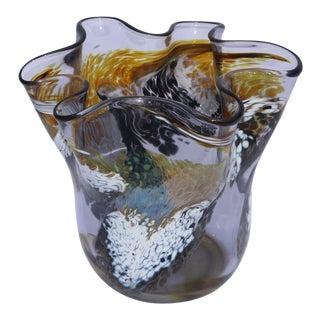 Modern Wave Form Blown Glass Vase