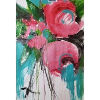 Jose Trujillo Abstract Pink Roses Large Original Painting For Sale