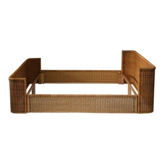 Double Bed Wicker Frame by Adalberto Dal Lago for Germa For Sale
