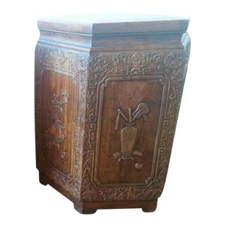 Antique Chinese Lantern Shaped Wood Carved Stool For Sale
