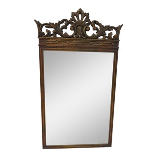 Baroque Carved Top Antique Gold Finish Mirror For Sale