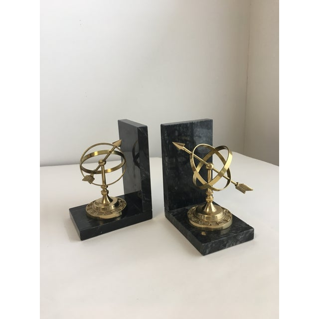 Armillary Marble and Brass Bookends - a Pair - Image 2 of 6