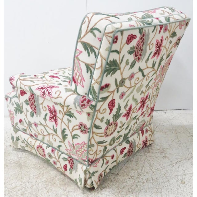 """Crewelwork floral decorated upholstery. Seat height 17""""h."""