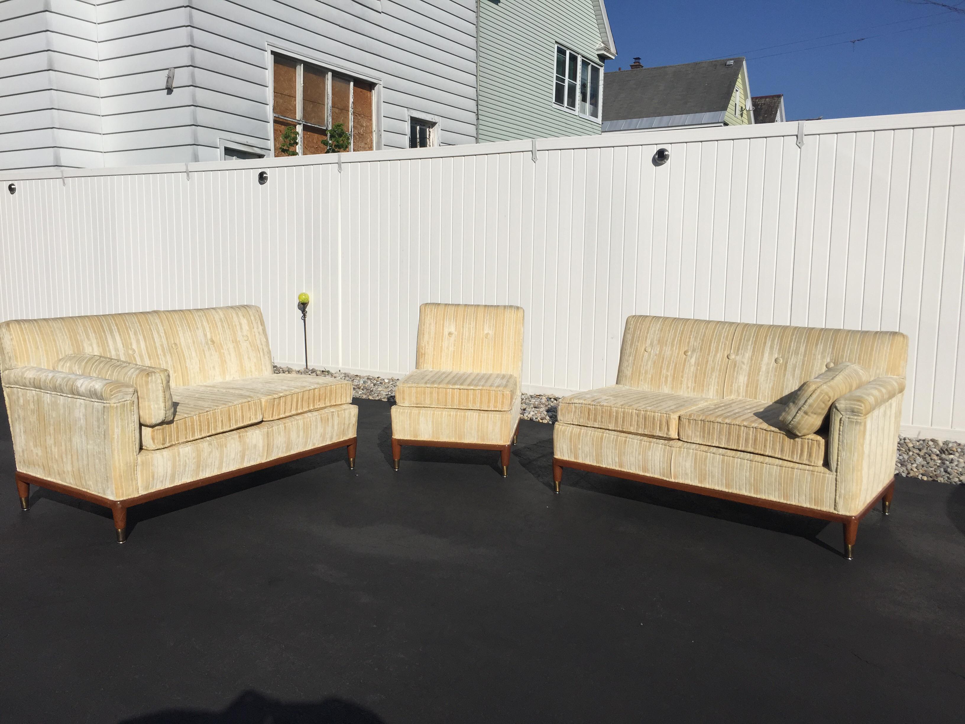 Attirant Mid Century Modern Striped Sectional Sofa   Set Of 3   Image 4 Of 11