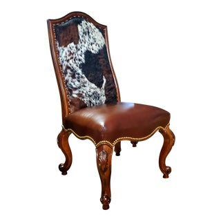 Henredon Furniture Pecan Leather Hair on Hide Formal Dining/Accent Chair W/Nailheads For Sale