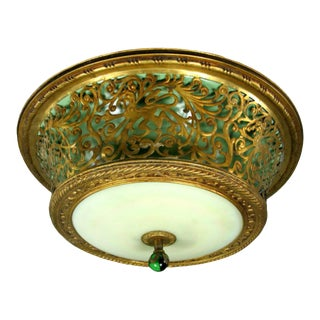 Italian Pierced Brass Flushmount Ceiling Light For Sale