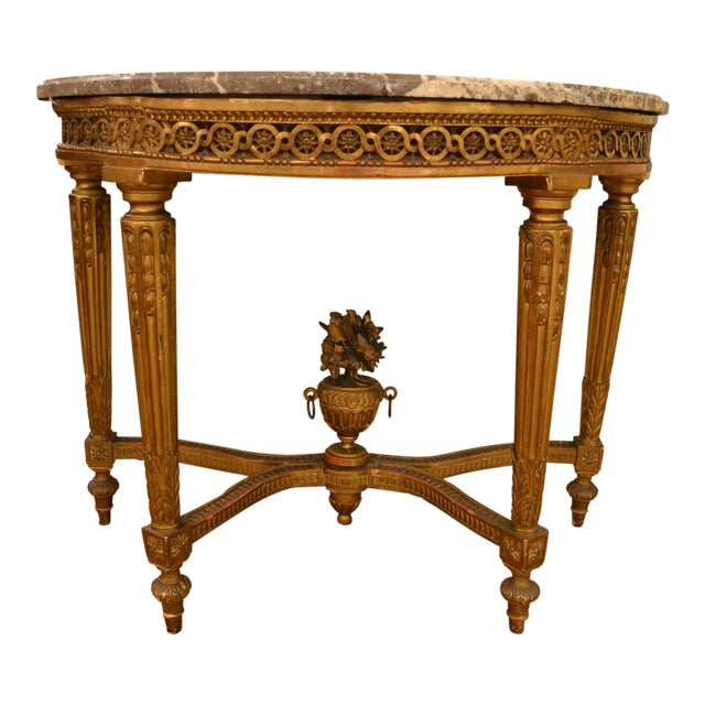 Incredible Antique French Louis XVI Openwork Gold Console with ...