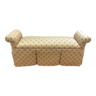 Upholstered Scroll Arm Skirted Bench With Monkeys For Sale