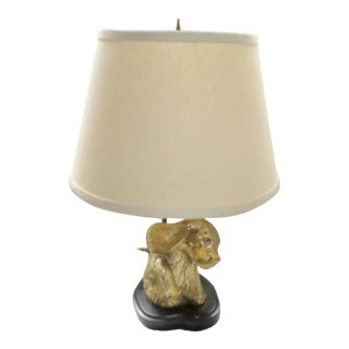 Vintage Brass Cocker Spaniel on Metal Base Table Lamp With Shade For Sale