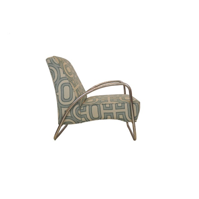 Contemporary Organic Modern White and Teal Patterned Neo Club Chair For Sale - Image 3 of 6
