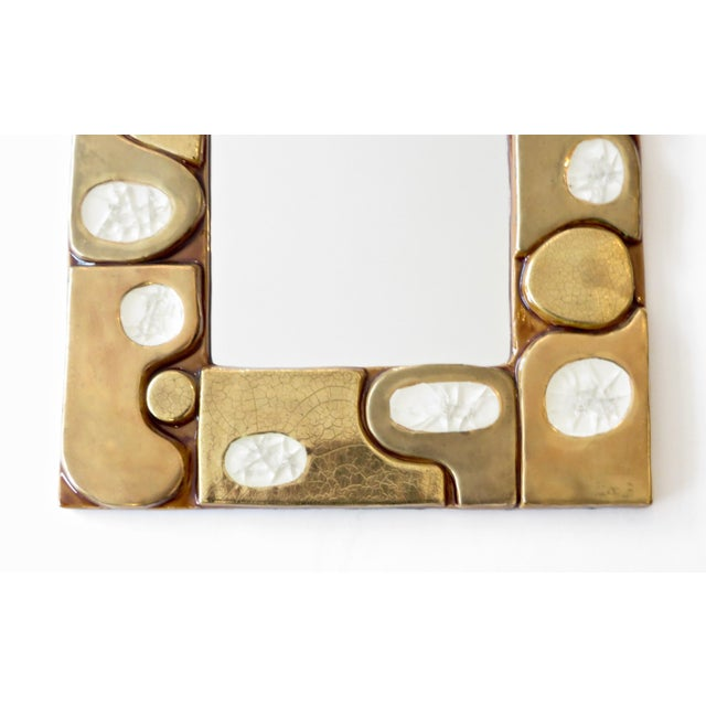 French Ceramic Gold Crackle Glazed and Crystalline Mirror by Francois Lembo For Sale In Chicago - Image 6 of 10