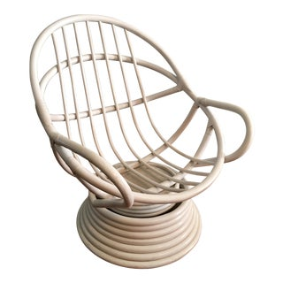 Vintage Mid-Century Modern Bamboo Rattan Swivel Chair in White For Sale