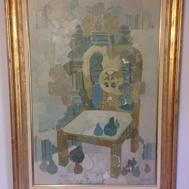 Modern Chinoiserie inspired oil painting abstraction of a Chippendale chair with pear accents. In original gold leaf frame...
