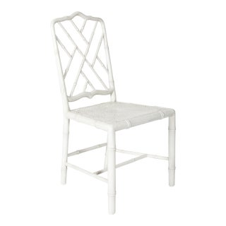 White Painted Faux Bamboo Side Chair For Sale