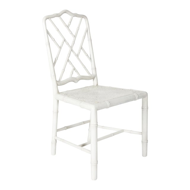 White Painted Faux Bamboo Side Chair - Image 1 of 8