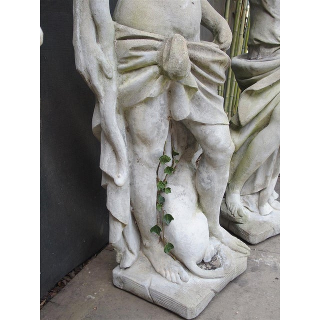 Gray Pair of 20th Century French Statues Representing Apollo and Diana For Sale - Image 8 of 13